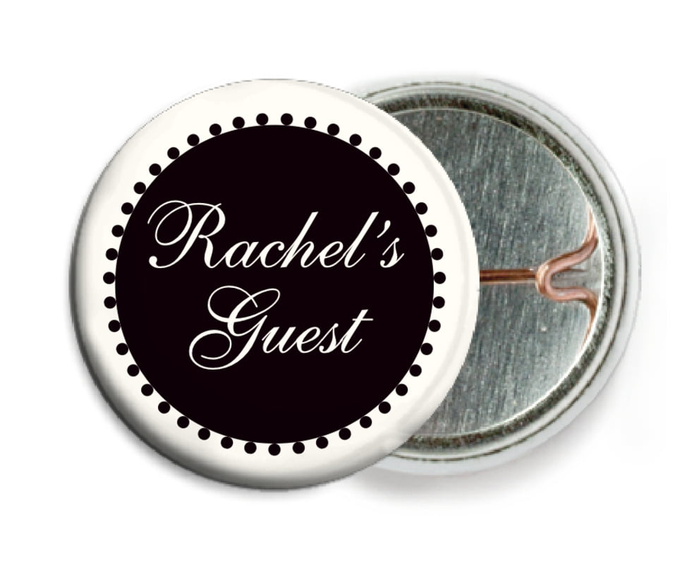 custom pin back buttons - tuxedo - westchester (set of 6)