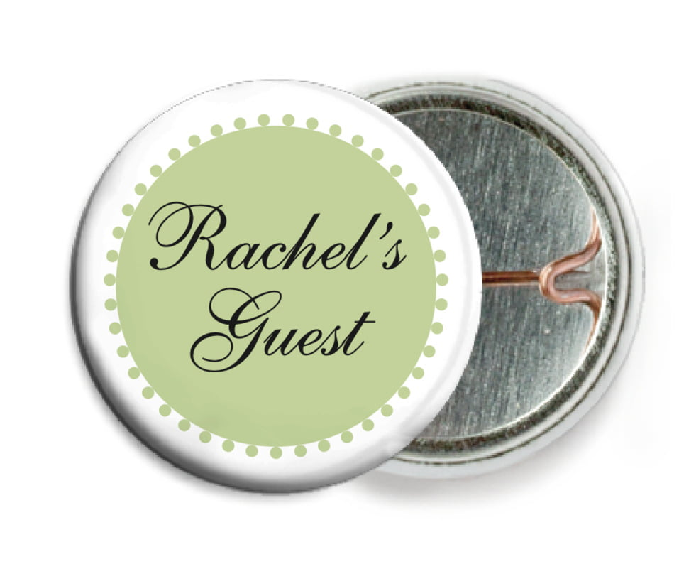custom pin back buttons - green tea - westchester (set of 6)