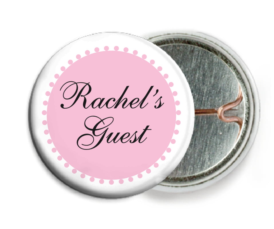 custom pin back buttons - pale pink - westchester (set of 6)