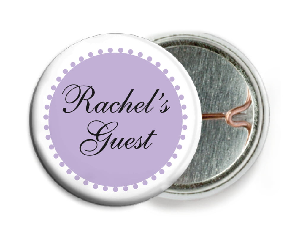 custom pin back buttons - lilac - westchester (set of 6)