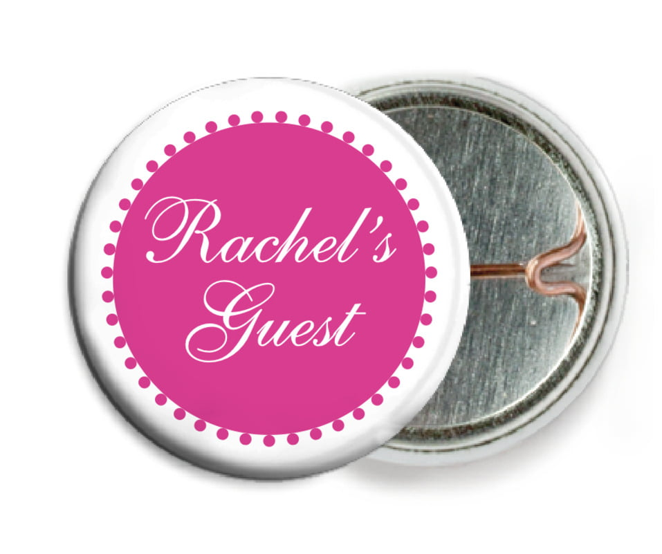 custom pin back buttons - bright pink - westchester (set of 6)