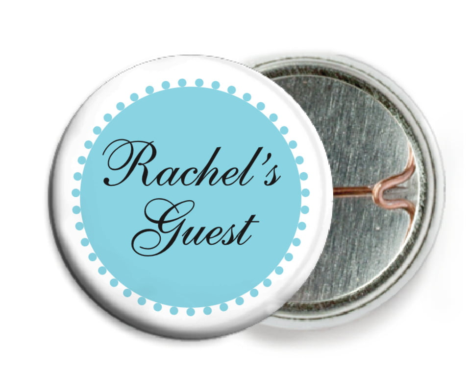 custom pin back buttons - bahama blue - westchester (set of 6)