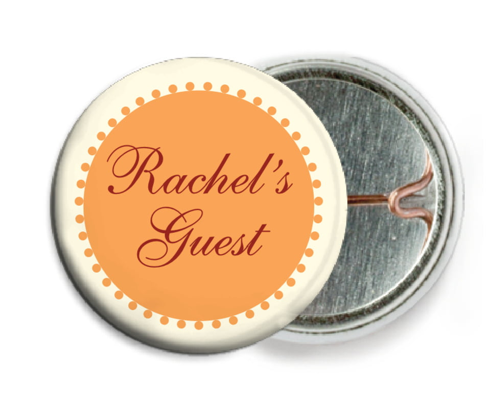 custom pin back buttons - tangerine - westchester (set of 6)