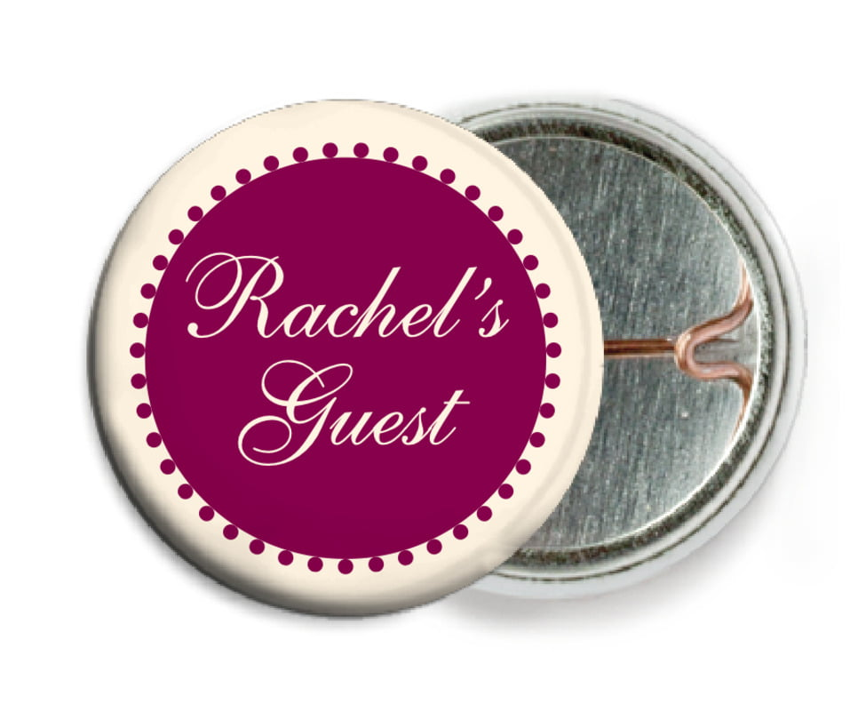 custom pin back buttons - burgundy - westchester (set of 6)