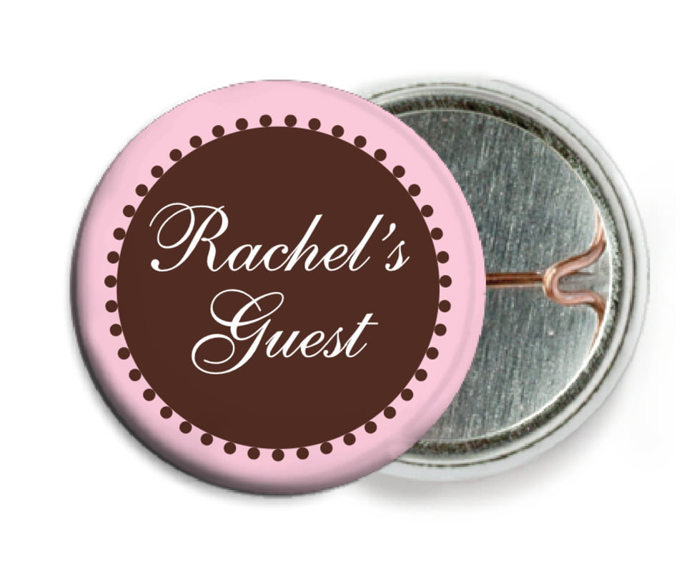 custom pin back buttons - cocoa & pink - westchester (set of 6)