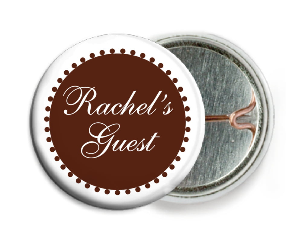 custom pin back buttons - chocolate - westchester (set of 6)