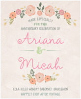 Whimsical Floral anniversary wine labels