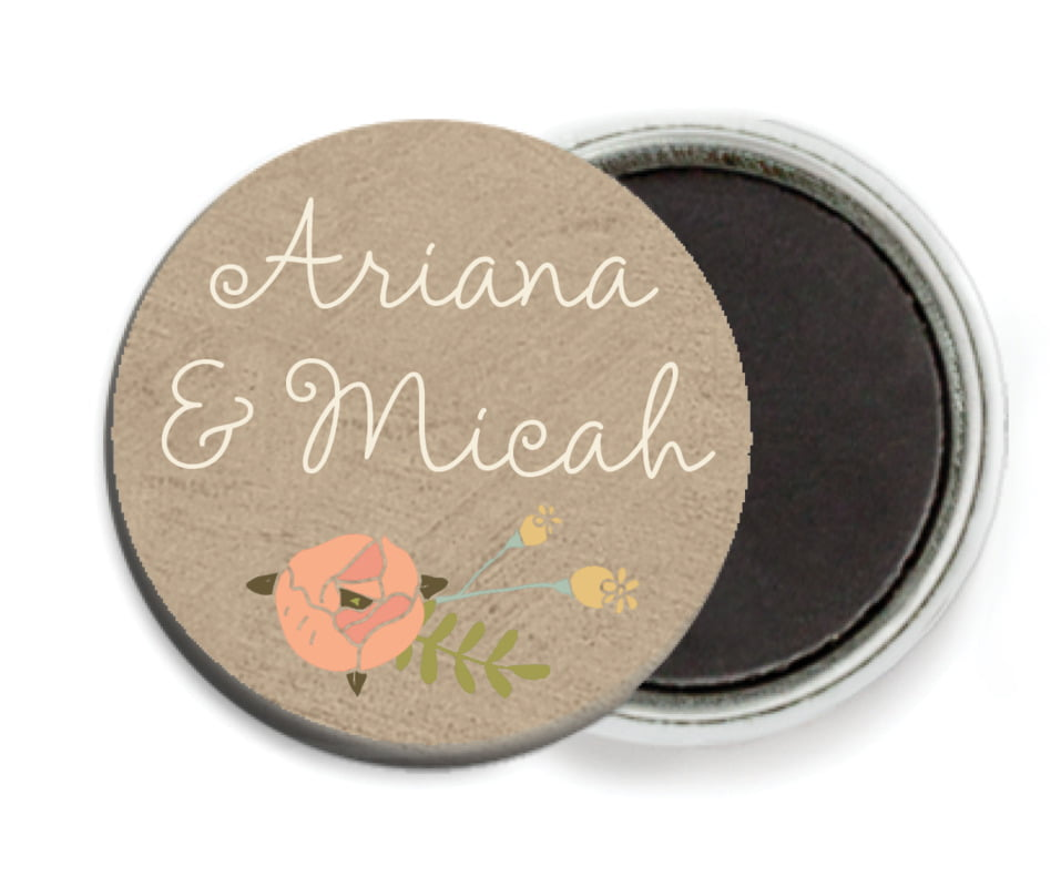 custom button magnets - mocha - whimsical floral (set of 6)