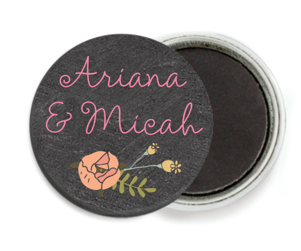 custom button magnets - charcoal - whimsical floral (set of 6)