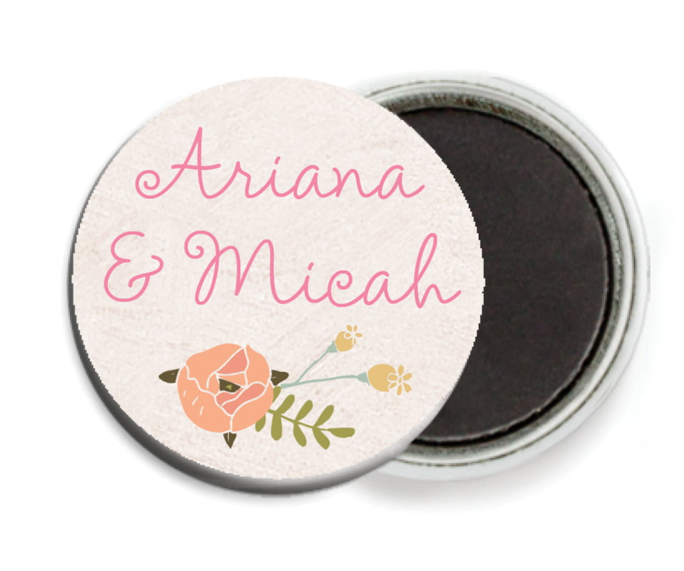 custom button magnets - champagne - whimsical floral (set of 6)