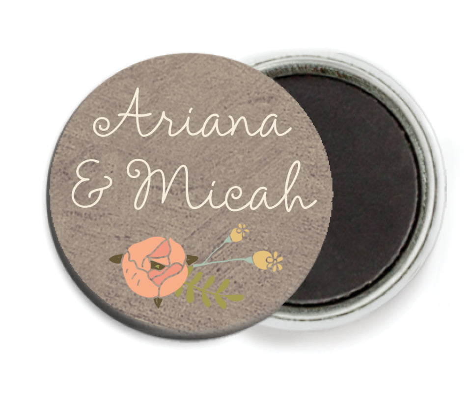 custom button magnets - warm grey - whimsical floral (set of 6)