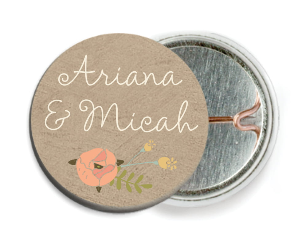custom pin back buttons - mocha - whimsical floral (set of 6)