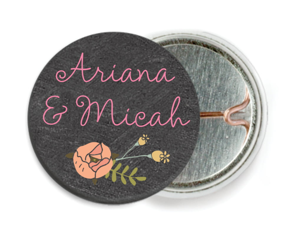 custom pin back buttons - charcoal - whimsical floral (set of 6)