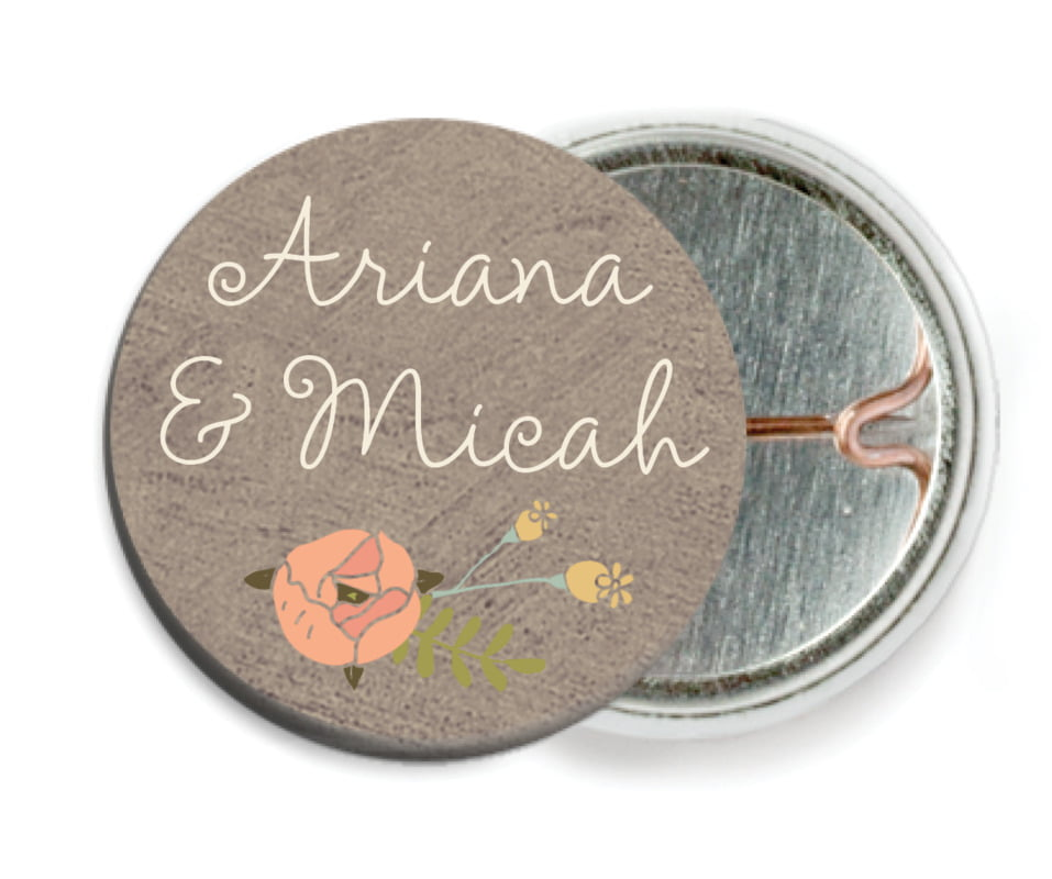 custom pin back buttons - warm grey - whimsical floral (set of 6)