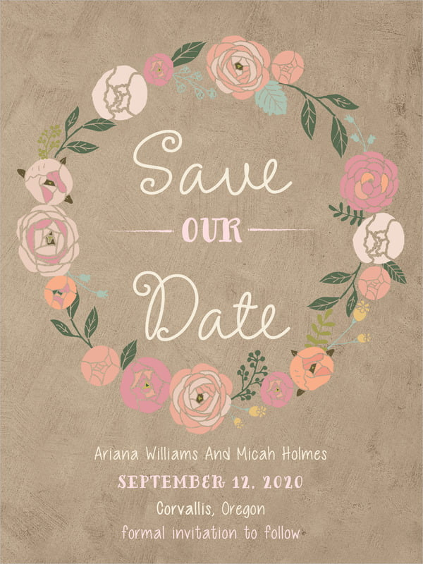 custom tall save the date cards - mocha - whimsical floral (set of 10)