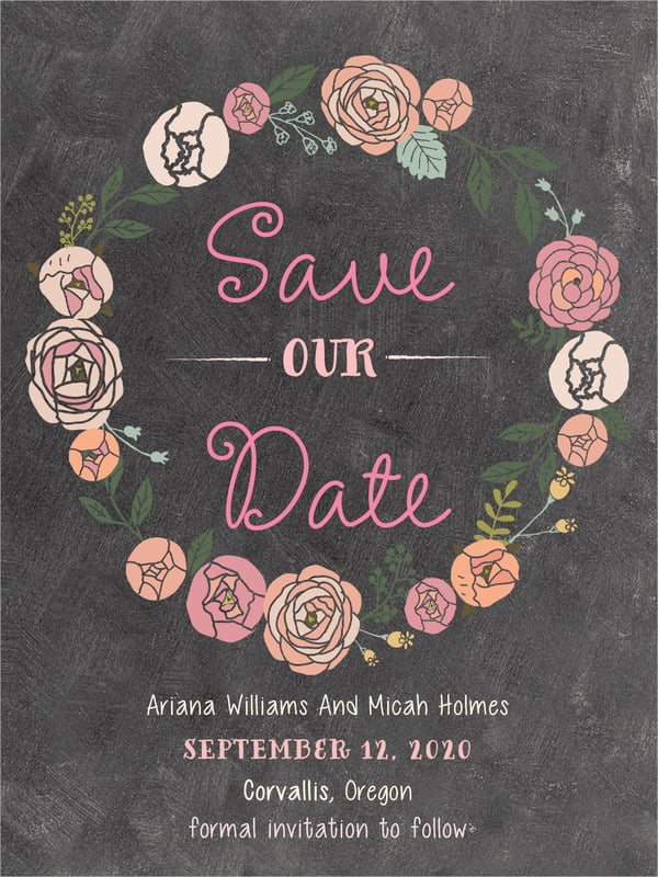 custom tall save the date cards - charcoal - whimsical floral (set of 10)