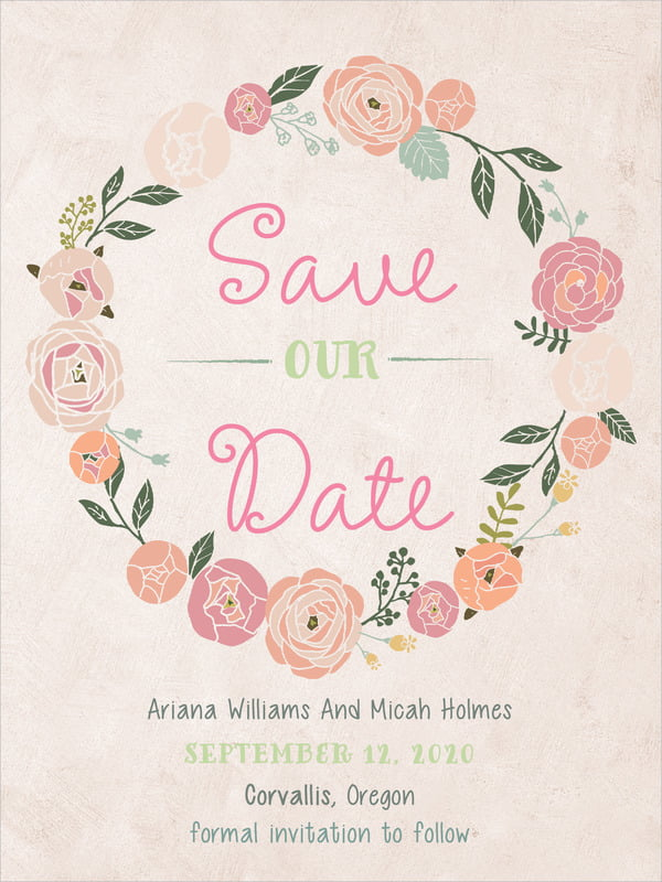 custom tall save the date cards - champagne - whimsical floral (set of 10)