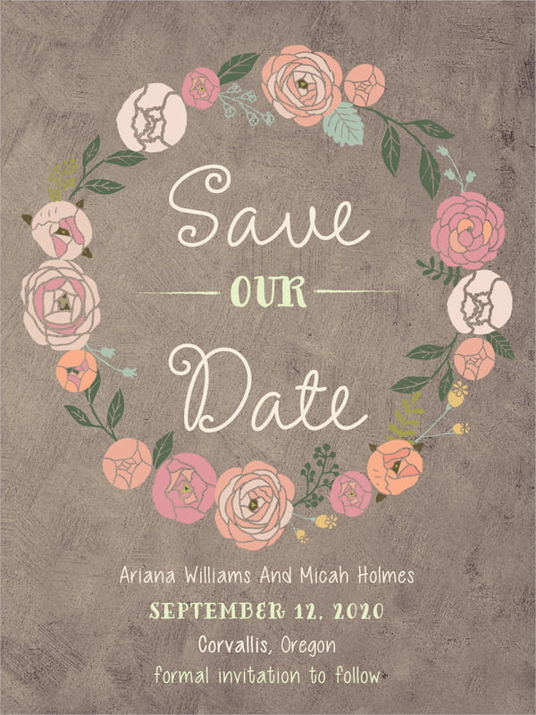 custom tall save the date cards - warm grey - whimsical floral (set of 10)