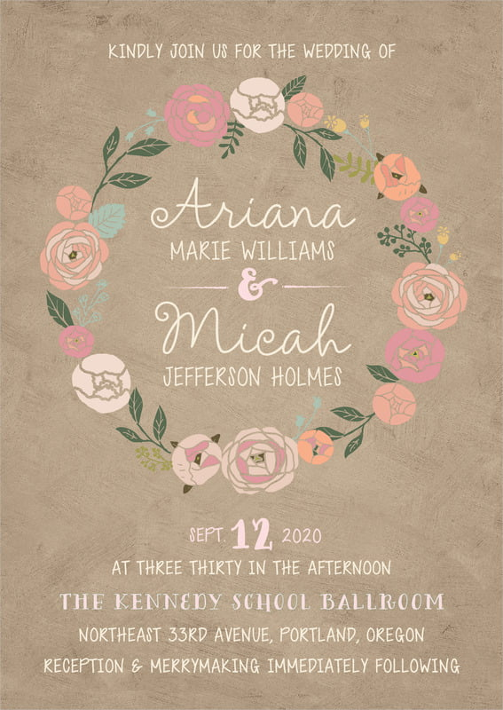 custom invitations - mocha - whimsical floral (set of 10)
