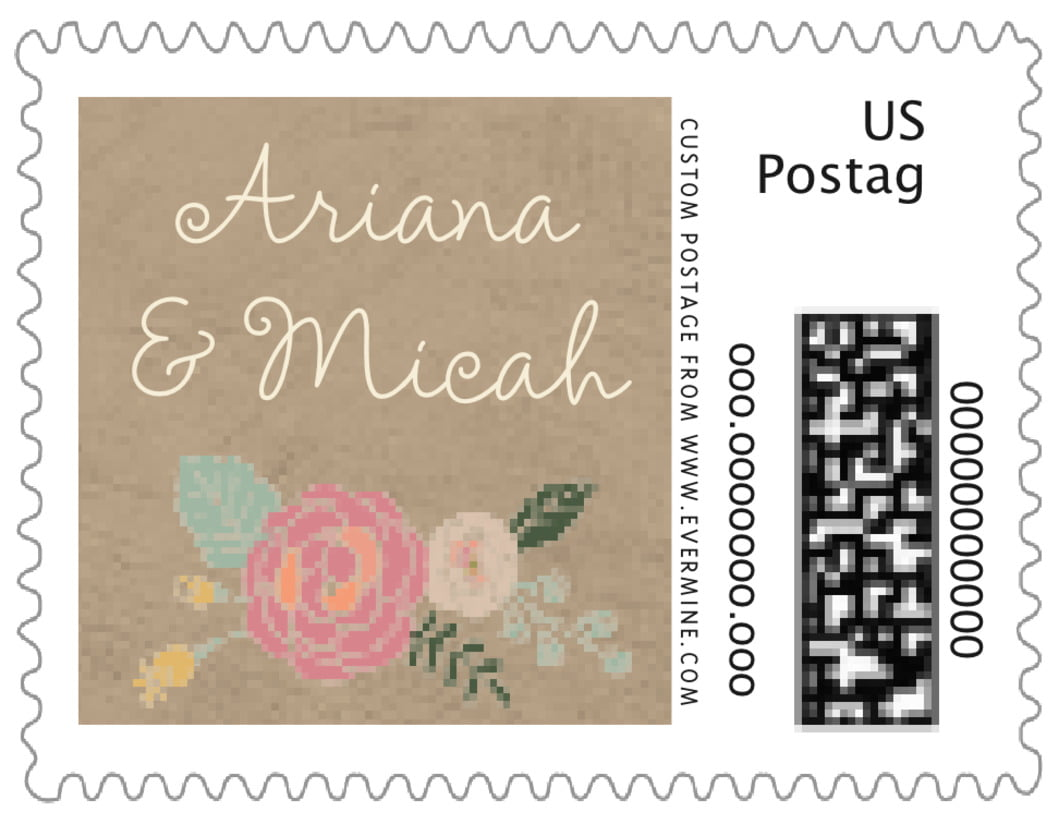 small custom postage stamps - mocha - whimsical floral (set of 20)