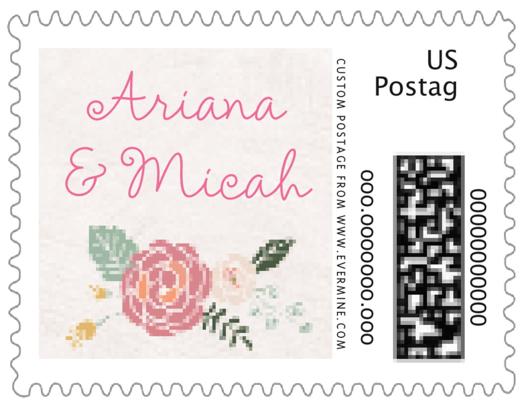 small custom postage stamps - champagne - whimsical floral (set of 20)