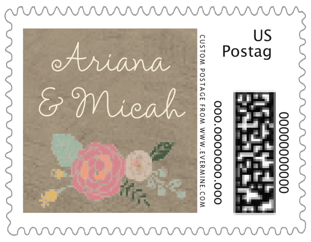 small custom postage stamps - warm grey - whimsical floral (set of 20)