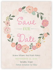 Whimsical Floral Save The Date Card In Champagne