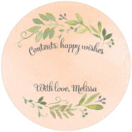Watercolor Spring Large Circle Gift Label In Peach