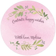 Watercolor Spring large circle gift labels