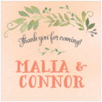 Watercolor Spring Square Label In Peach