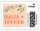 Watercolor Spring wedding postage stamps