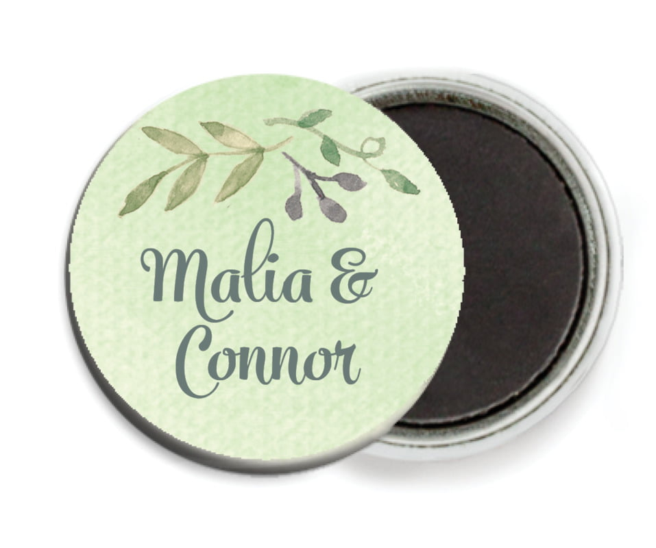 custom button magnets - green tea - watercolor spring (set of 6)