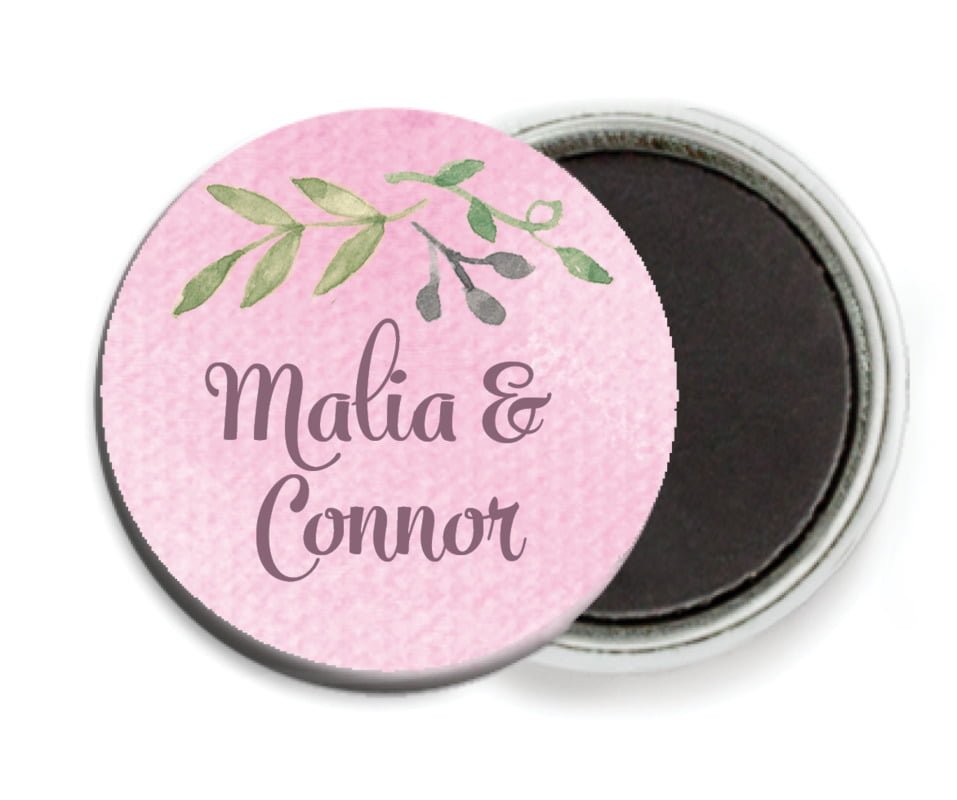 custom button magnets - pale pink - watercolor spring (set of 6)