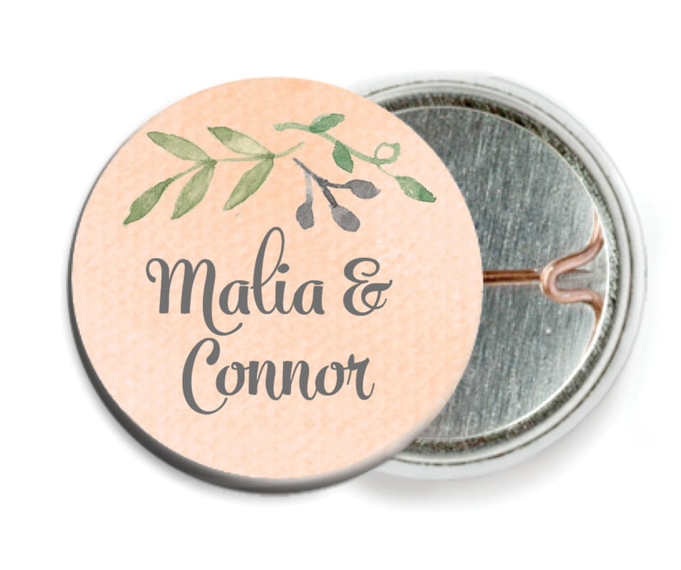 custom pin back buttons - peach - watercolor spring (set of 6)