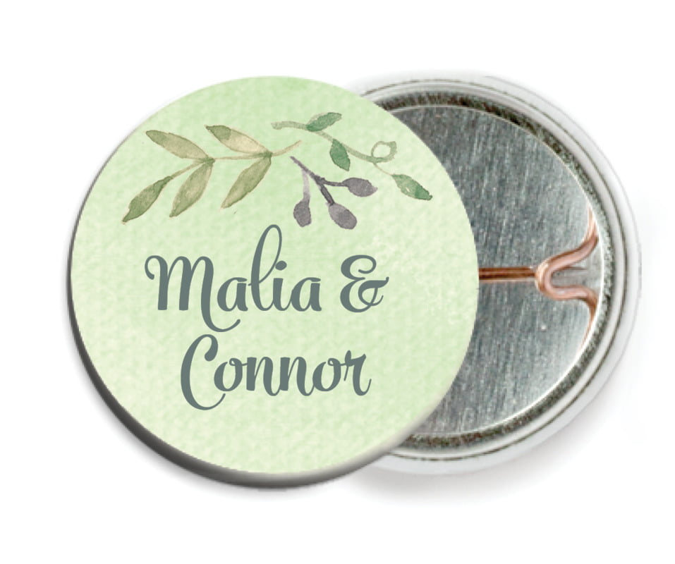 custom pin back buttons - green tea - watercolor spring (set of 6)