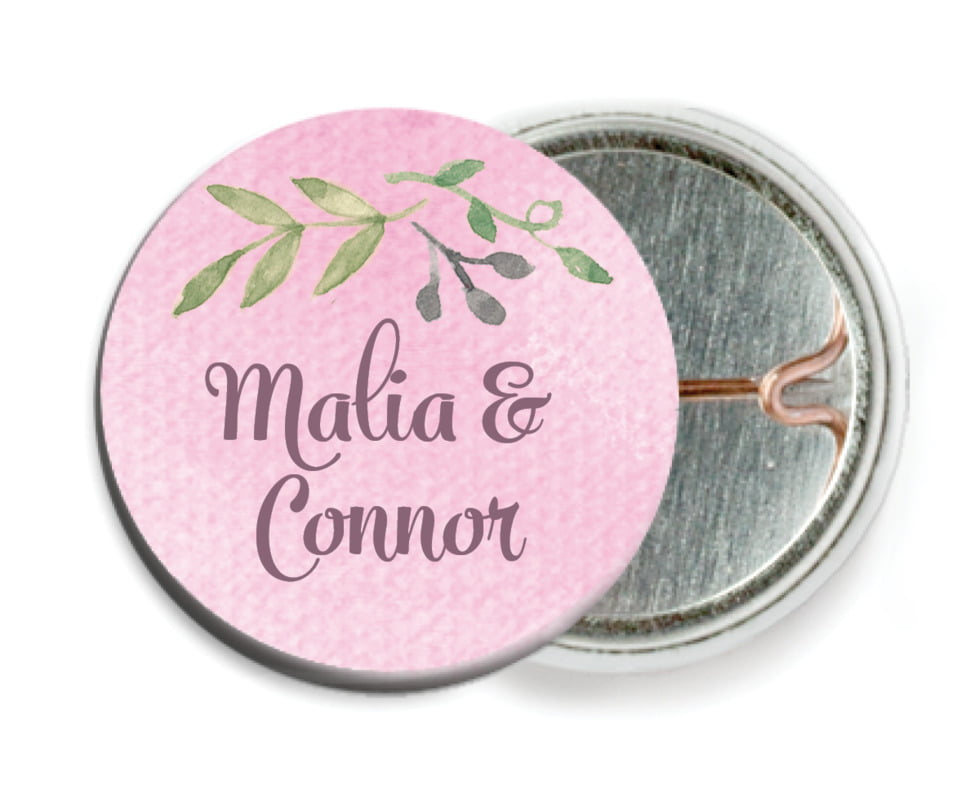 custom pin back buttons - pale pink - watercolor spring (set of 6)
