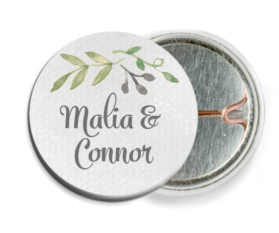 custom pin back buttons - stone - watercolor spring (set of 6)