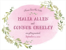 custom save-the-date cards - pale pink - watercolor spring (set of 10)