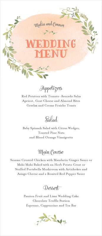custom menus - peach - watercolor spring (set of 10)