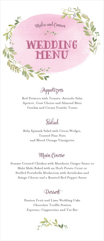 custom menus - pale pink - watercolor spring (set of 10)