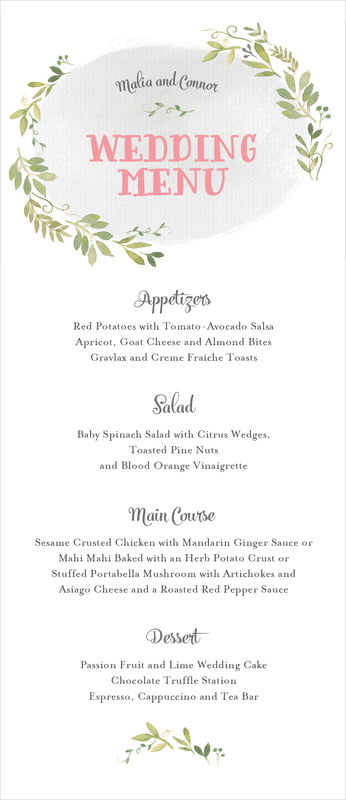 custom menus - stone - watercolor spring (set of 10)