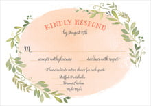 custom response cards - peach - watercolor spring (set of 10)