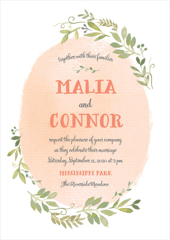 custom invitations - peach - watercolor spring (set of 10)