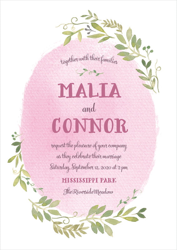 custom invitations - pale pink - watercolor spring (set of 10)