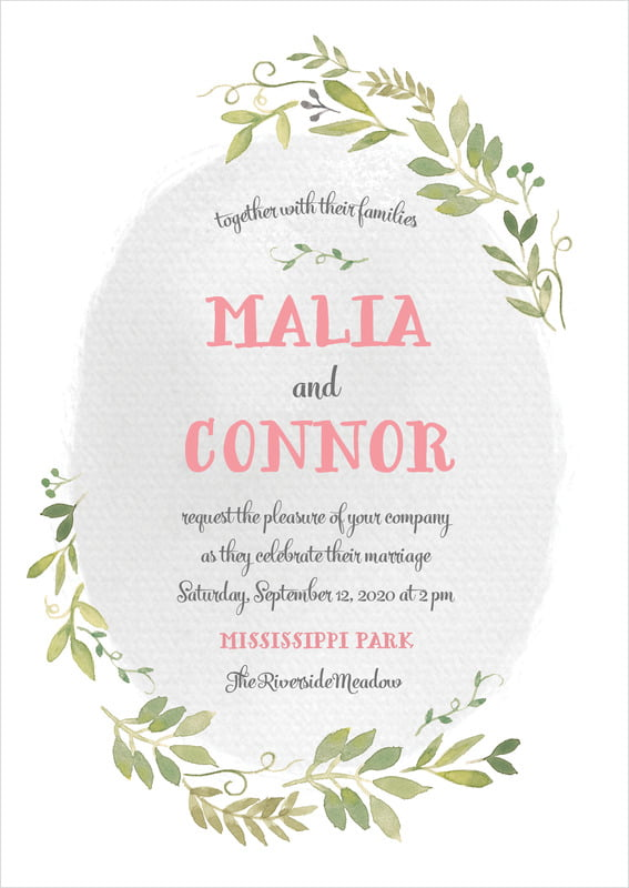 custom invitations - stone - watercolor spring (set of 10)