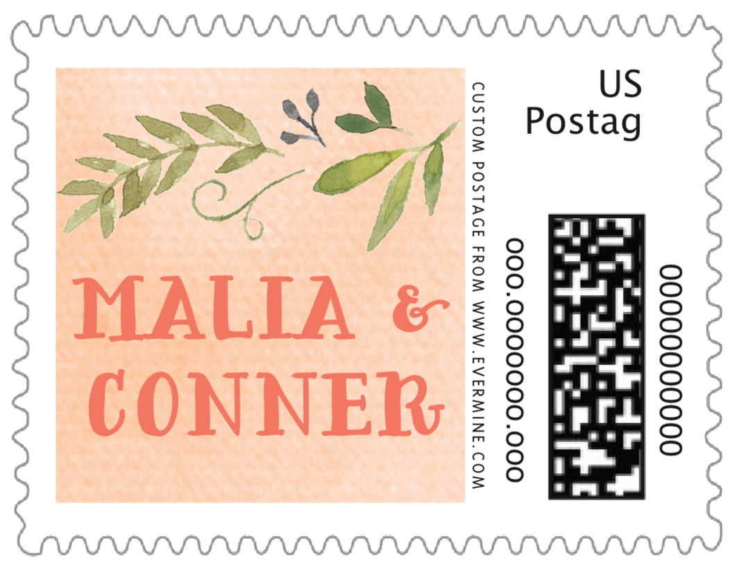 small custom postage stamps - peach - watercolor spring (set of 20)