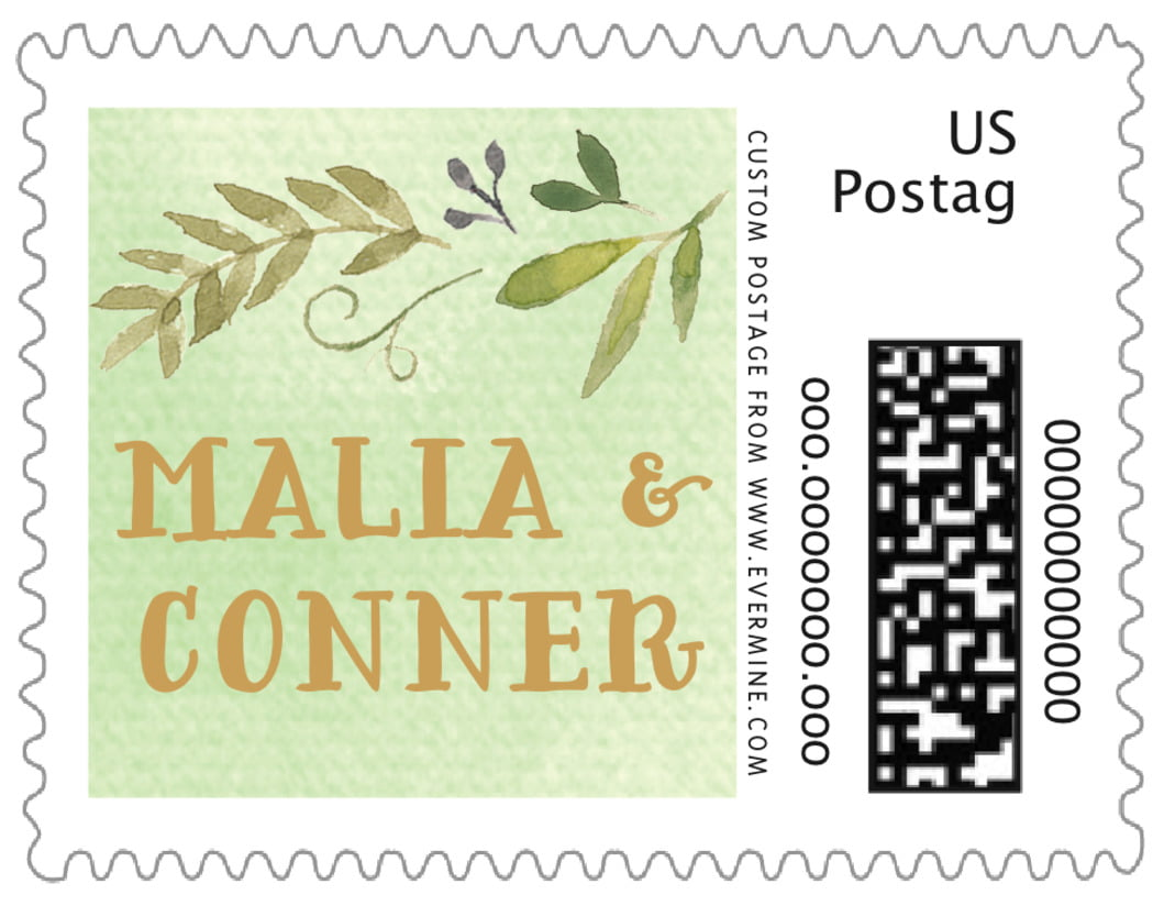 small custom postage stamps - green tea - watercolor spring (set of 20)