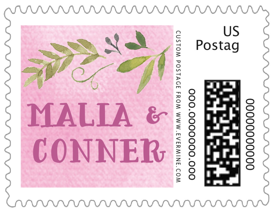 small custom postage stamps - pale pink - watercolor spring (set of 20)