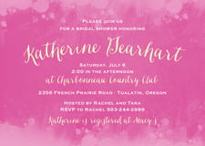 baby shower invitations - bright pink - watercolor splash (set of 10)