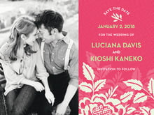 custom save-the-date cards - deep coral - whimsical romance (set of 10)